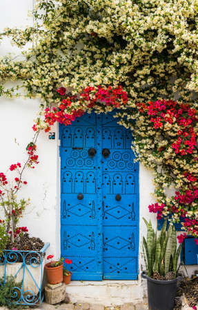 sidi bou said: Blue door with traditional ornament as symbol of Sidi Bou Said and flowers Stock Photo