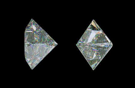 Sde views of princess cut diamond or gemstone on black. 3d rendering, 3d illustration Stock Photo