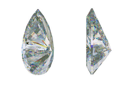 Side views of pear cut gemstone or diamond on white. 3d rendering, 3d illustration Stock Photo