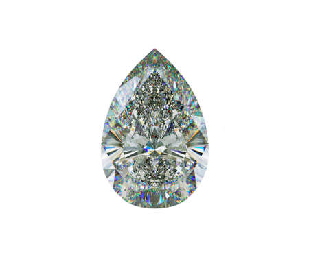 diamond shape: Large pear cut diamond isolated on white. 3d illustration, 3d rendering