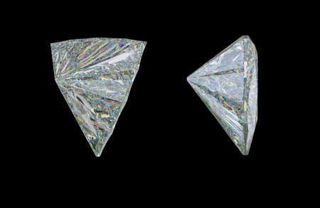 Side view of trillion cut diamond or gemstone on black. 3d rendering, 3d illustration