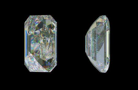 rectangular: Side views of Emerald cut diamond or gemstone on black. 3d rendering, 3d illustration