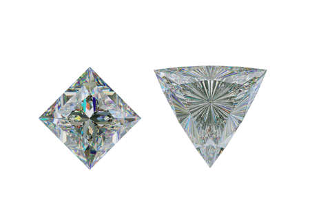 Top view of trillion and princess cut diamond or gemstones on white. 3d illustration, 3d rendering Stock Photo
