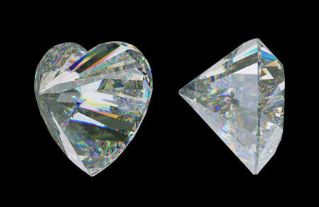 Side views of Large heart shape cut diamond isolated on black. 3d rendering, 3d illustration