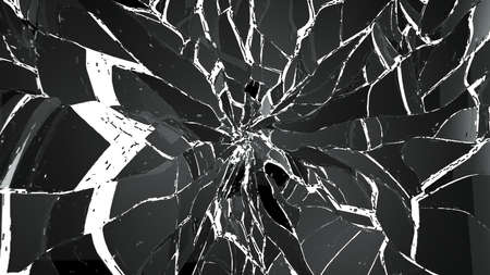 impact: Pieces of Broken or Shattered glass on white. high resolution 3d illustration, 3d rendering Stock Photo