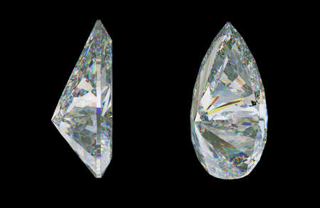 Side views of pear cut gemstone or diamond on black. 3d rendering, 3d illustration