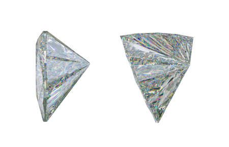 Side view of trillion cut diamond or gemstone on white. 3d rendering, 3d illustration