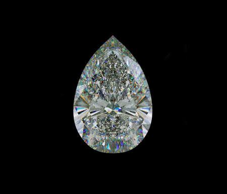 Large pear cut diamond isolated on black. 3d illustration, 3d rendering