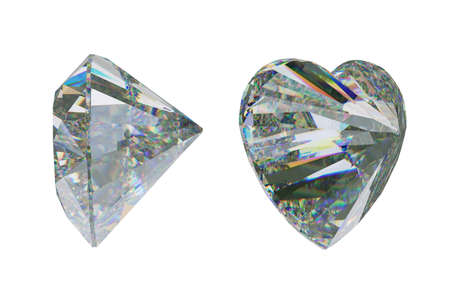 Side views of Large heart shape cut diamond or gemstone on white. 3d rendering, 3d illustration Stock Photo