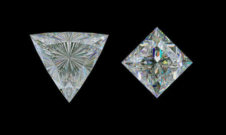 Top view of trillion and princess cut diamond or gemstones on black. 3d illustration, 3d rendering Stock Photo