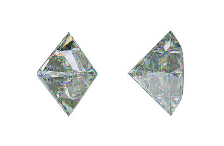 Sde views of princess cut diamond or gemstone on white. 3d rendering, 3d illustration Stock Photo