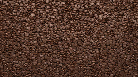 Roasted Coffee beans texture or background. 3d rendering, 3d illustration Archivio Fotografico