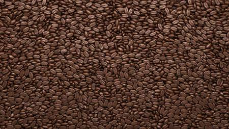 chicchi di caff?: Caffè torrefatto fagioli texture o sfondo. Rendering 3D, illustrazione 3D