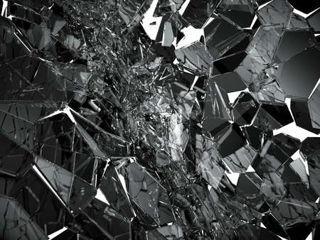 demolishing: Pieces of Broken or cracked glass on white. 3d rendering 3d illustration Stock Photo