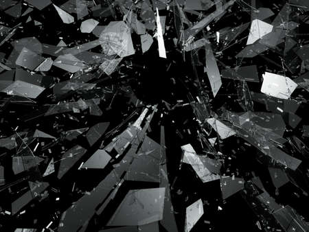 deflated: Pieces of splitted or cracked glass on black. 3d rendering 3d illustration Stock Photo