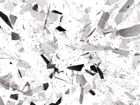 deflated: Shattered or demolished glass over white. 3d rendering 3d illustration