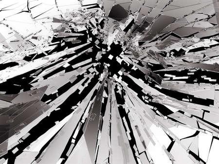 shattered glass: Shattered or broken glass Pieces on black. 3d rendering 3d illustration