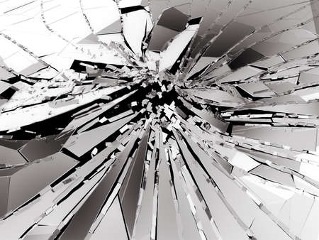 Pieces of Broken or Shattered glass on black. 3d rendering 3d illustration Stock Photo