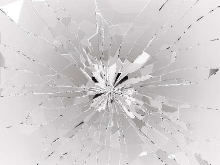shattered: Bullet hole and pieces of shattered or smashed glass. 3d rendering 3d illustration