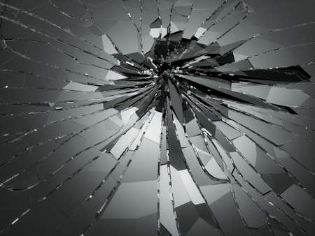 Shattered or demolished glass over black. 3d rendering 3d illustration Stock Photo