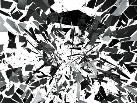 shattered: Pieces of destructed Shattered glass on white. 3d rendering 3d illustration