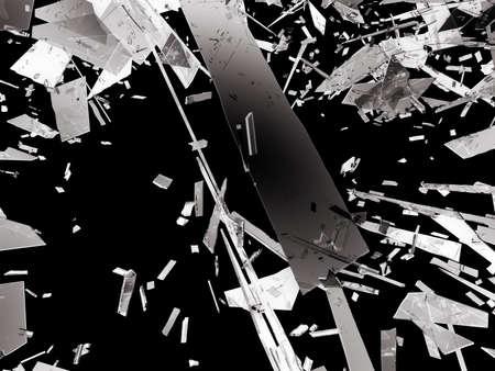 deflated: Shattered or demolished glass over black background. 3d rendering 3d illustration