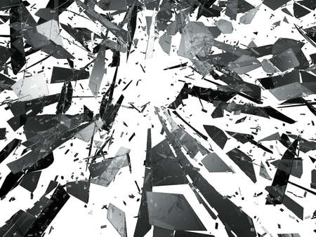 demolishing: Pieces of splitted or cracked glass on white. 3d rendering 3d illustration