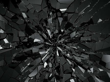 cracked: Damaged or broken glass on black. 3d rendering 3d illustration Stock Photo