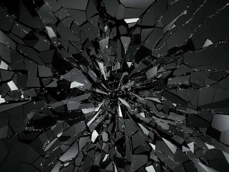 Damaged or broken glass on black. 3d rendering 3d illustration Stock Photo