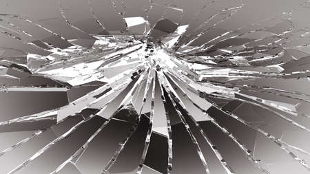 Bullet hole pieces of shattered or smashed glass. 3d rendering 3d illustration