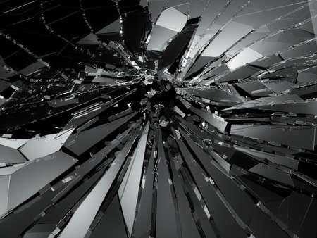 shattered: Bullet hole pieces of shattered or smashed glass. 3d rendering 3d illustration