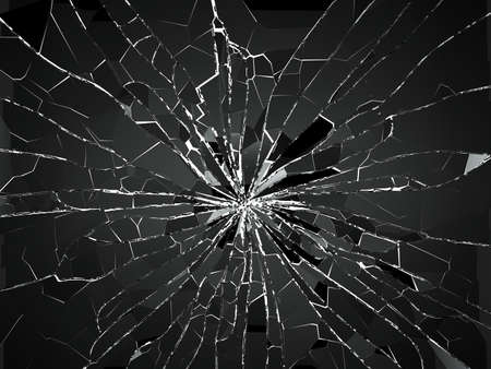 shatter: Bullet hole and pieces of shattered or smashed glass on white. 3d rendering 3d illustration