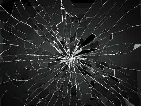 Kogelgat en stukken van verbrijzeld of gebroken glas op wit. 3d teruggevende 3d illustratie Stockfoto