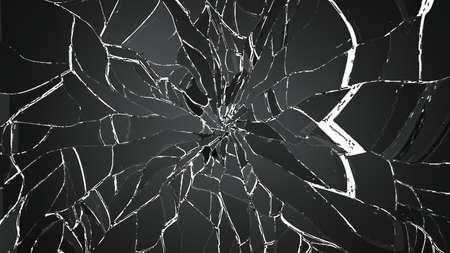 demolished: Shattered or demolished glass over on white. high resolution 3d illustration, 3d rendering