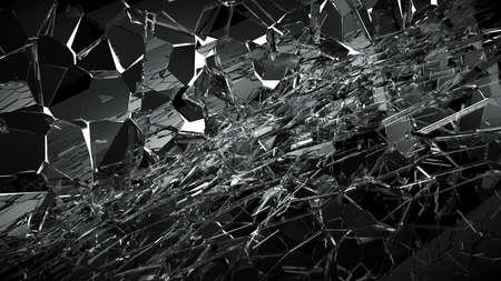 demolishing: Pieces of Broken or Shattered glass on white. 3d rendering 3d illustration
