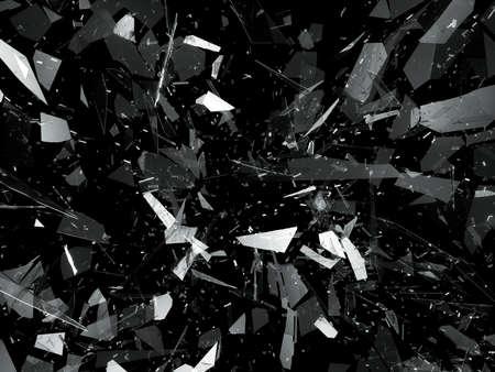 over black: Shattered or demolished glass over black. 3d rendering 3d illustration Stock Photo
