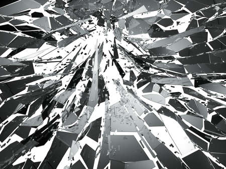 Shattered glass over white background. 3d rendering 3d illustration