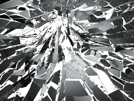 Verbrijzeld glas over witte achtergrond. 3d teruggevende 3d illustratie Stockfoto