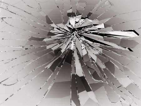 Pieces of Shattered glass on black. 3d rendering 3d illustration