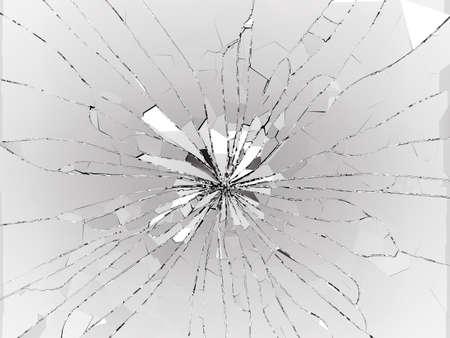 demolishing: Bullet hole Cracked and Shattered glass on black. 3d rendering 3d illustration Stock Photo