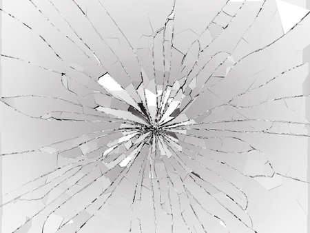 Bullet hole Cracked and Shattered glass on black. 3d rendering 3d illustration Stock Photo