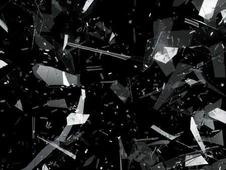 deflated: Bullet hole pieces of shattered or smashed glass. 3d rendering 3d illustration