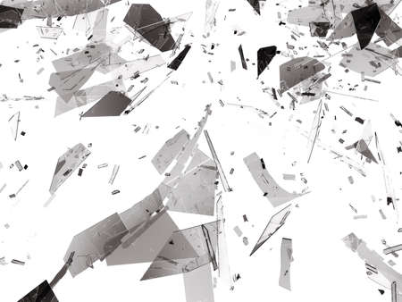 deflated: Pieces of Broken or Shattered glass on white. 3d rendering 3d illustration