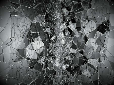 demolished: Shattered or demolished glass over black. 3d rendering 3d illustration Stock Photo