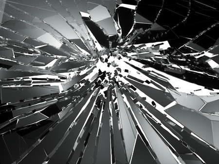 Pieces of Broken or Shattered glass on white. 3d rendering 3d illustration