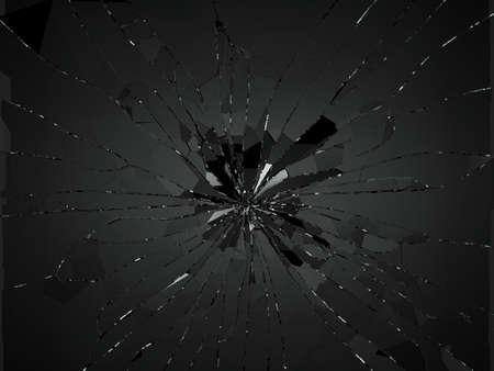 demolishing: Bullet hole pieces of shattered or smashed glass. 3d rendering 3d illustration
