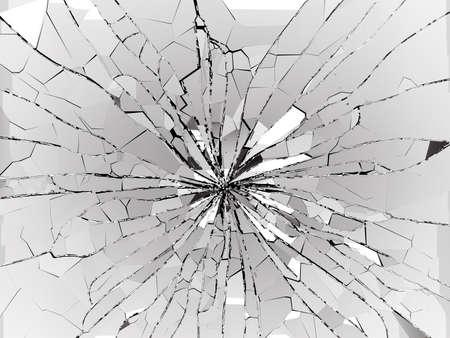 총알 구멍 및 블랙 또는 분쇄 부서진 유리 조각. 3 차원 3d 그림 렌더링 스톡 콘텐츠