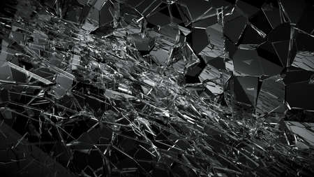 deflated: Shattered or demolished glass over black. 3d rendering 3d illustration Stock Photo