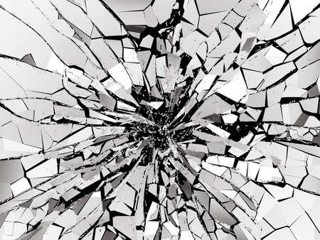 Shattered or demolished glass over black background. 3d rendering 3d illustration