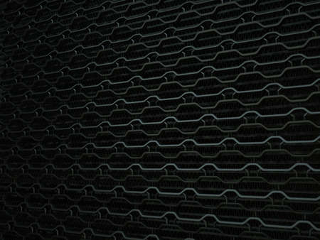 aluminium texture: Vehicle radiator grille closeup background texture. Wavy Pattern, Metallic black Aluminium Material and Reflections. 3d rendering, 3d illustration